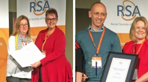 Jon Hosking and Julie Tondello have been recognised by the Renal Society of Australasia